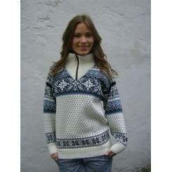 Hvid sweater i kamgarn med lynlås