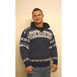 Marineblå sweater i kamgarn med lynlås