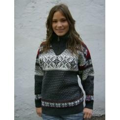 Koksgrå sweater i kamgarn med lynlås