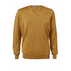 Merino sweater med V-hals i curry
