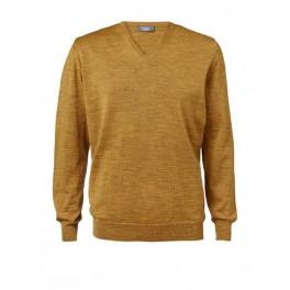 Merino sweater med V-hals i curry