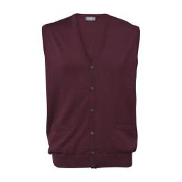 Merino waistcoat med knapper - bordeaux