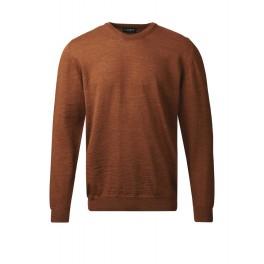Behagelig merino uld sweater med rund hals - gyldenbrun