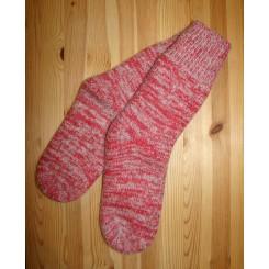 Wool blend ragsok - rød/grå twistgarn