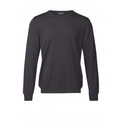 Behagelig merino uld sweater med rund hals - marine med nist
