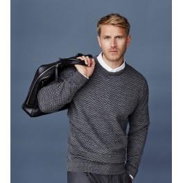 Sweater med rund hals - grå