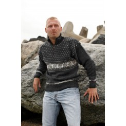 Koksgrå sweater med vandret mønster