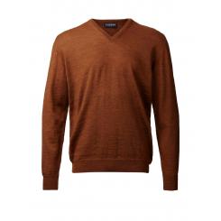 Merino sweater med V-hals - gyldenbrun