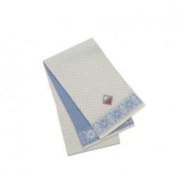Råhvidt/lyseblåt halstørklæde