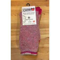 Wool blend ragsok - børstet lyserød