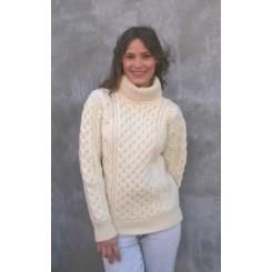 Honeycomb irsk sweater med rullekrave